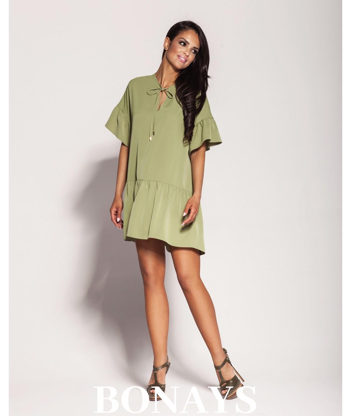 Oversizowa sukienka z falbankami LILA - khaki