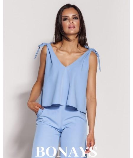 niebieska krotka bluzka damska Dursi