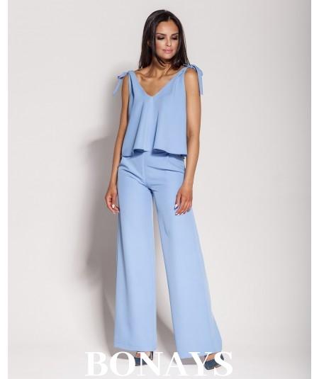 Niebieskie eleganckie spodnie typu szwedy z kieszeniami