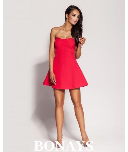 Gorsetowa sukienka Fabi -malinowa
