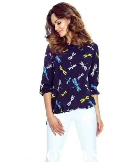 Elegancka koszula damska ELENA - granat w ważki