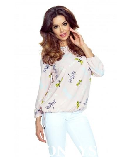 Elegancka koszula damska ELENA - pastelowy róż w ważki