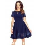 rozkloszowana sukienka z krotkim rekawem Biancka granat