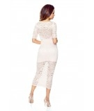 Koronkowa sukienka z dekoltem na plecach MIDI - Erica - różowa