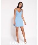 krótka sukienka - dekolt na plecach - Amelia niebieska