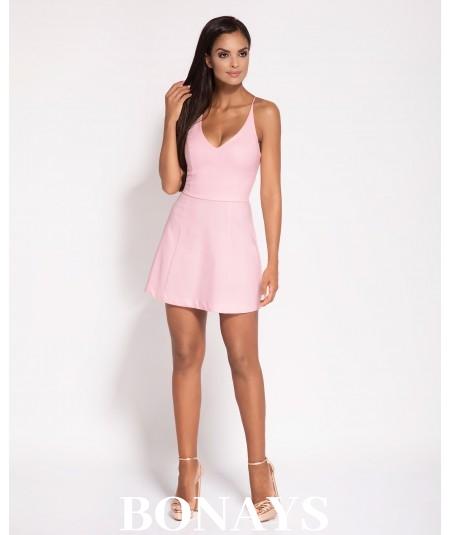 krótka sukienka - dekolt na plecach - Amelia różowa