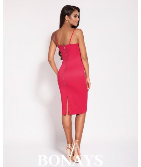 Malinowa dopasowana sukienka Dursi