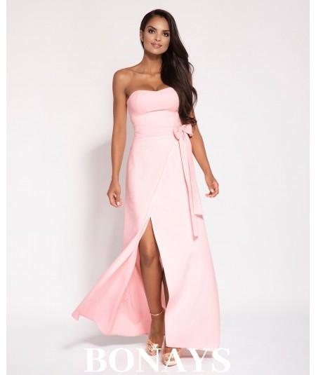Sukienka MAXI - Lorica -bez ramiączek Różowa