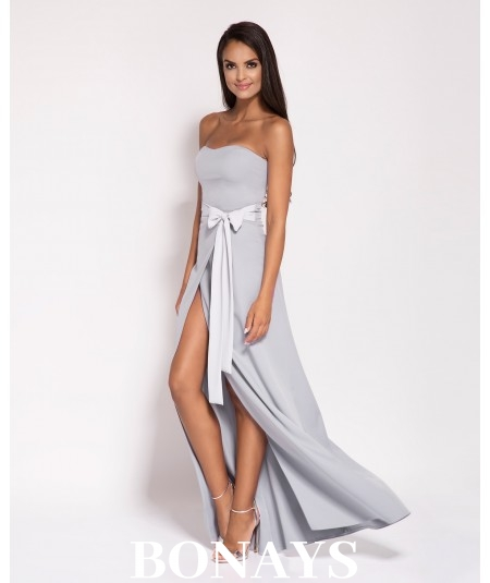 Sukienka MAXI - Lorica -bez ramiączek Szara