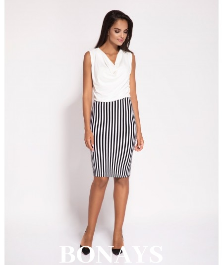 Elegancka sukienka Zino - czarno-biała