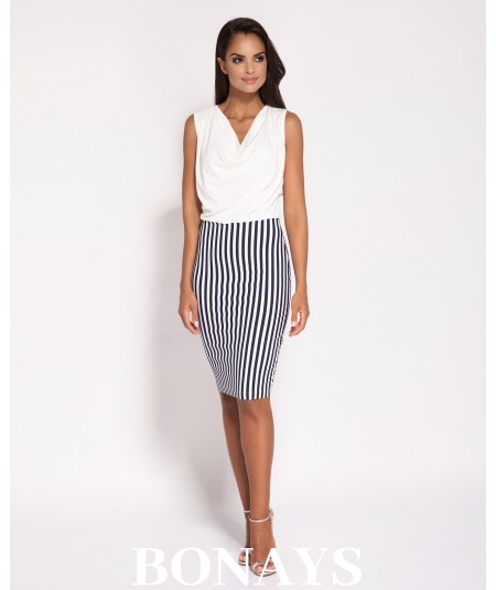 Elegancka sukienka Zino - granatowo - biała