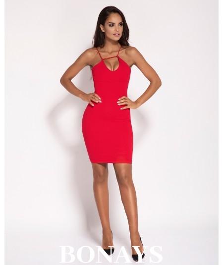 Czerwona dopasowana sukienka mini - dursi