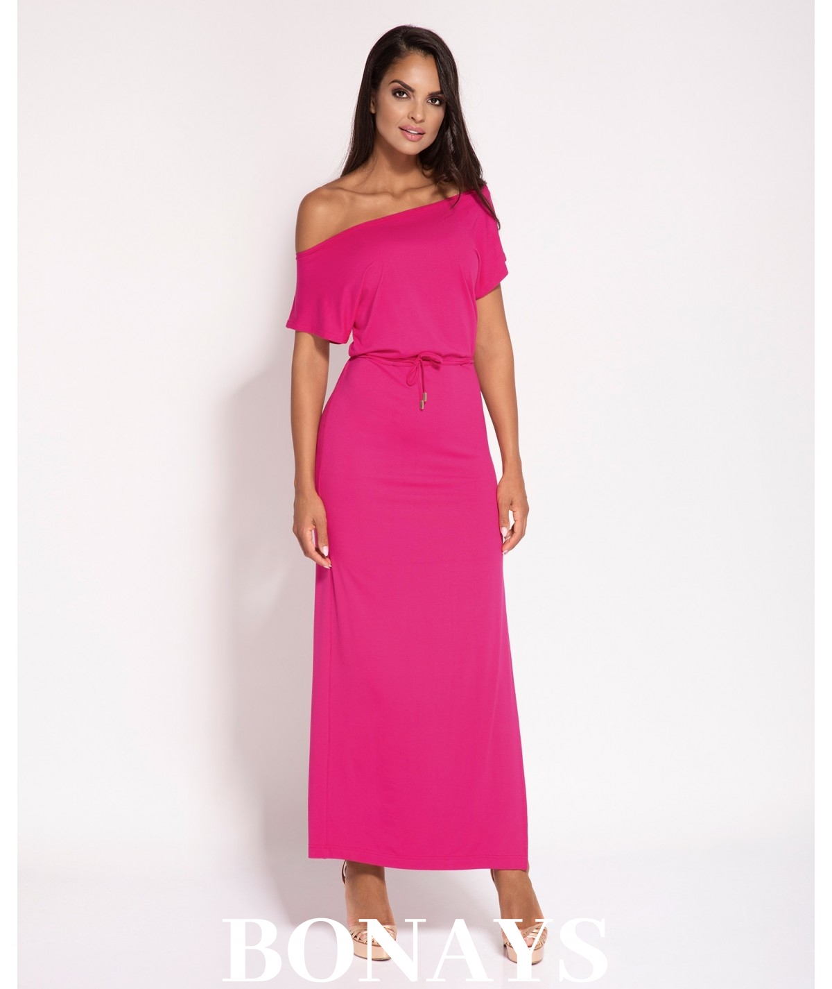 Sukienka Maxi - dopasowana z rozcięciem - Fanti - fuksja