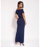 Sukienka Maxi - dopasowana z rozcięciem - Fanti - granatowa