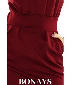 Bordowa prosta sukienka z kieszeniami o sportowym fasonie Sara