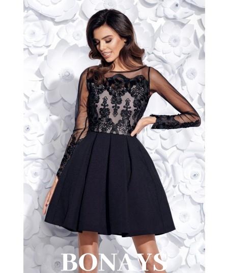 Rozkloszowana sukienka wieczorowa Sintia - czarna