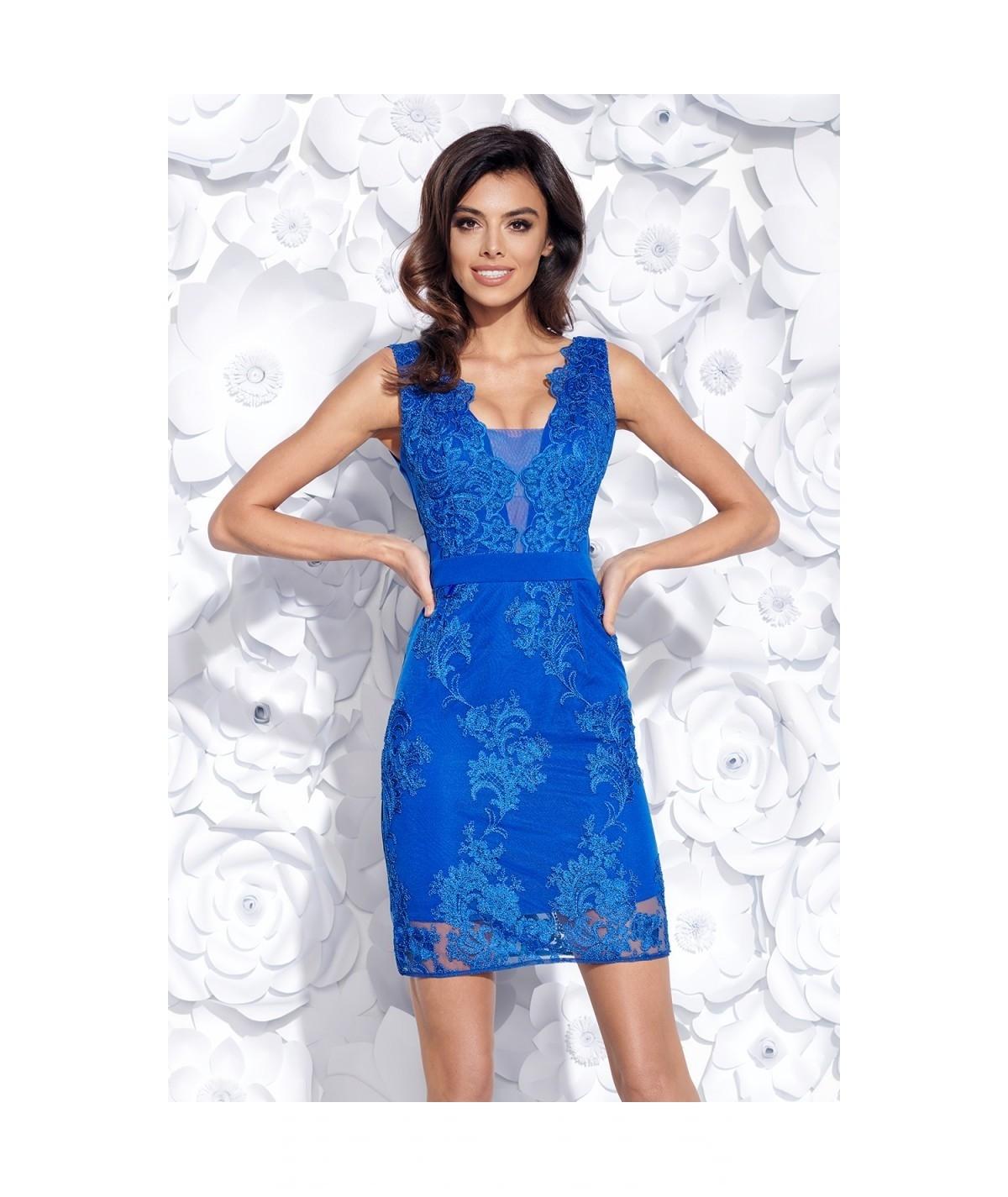 Romantyczna sukienka z haftem - RONI - granat
