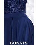 Sukienka MIDI z ogonkami JULIA - granat