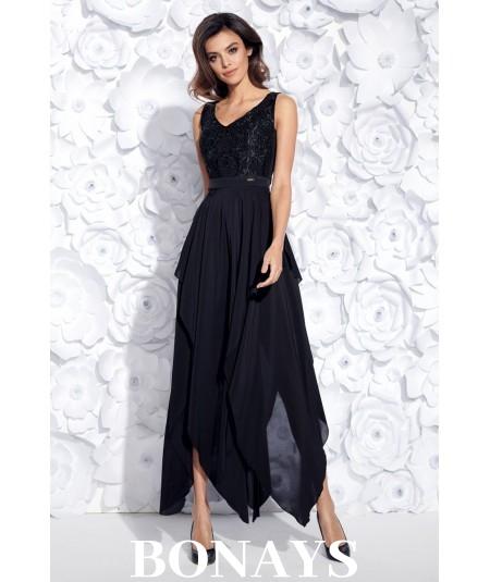 Sukienka MIDI z ogonkami JULIA - czarna