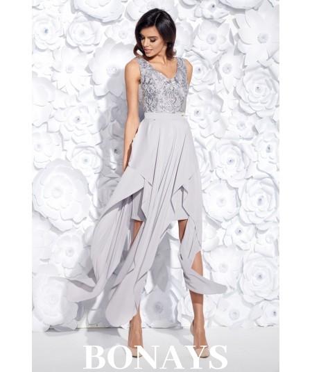 Sukienka MIDI z ogonkami JULIA - szara