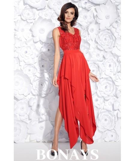 Sukienka MIDI z ogonkami JULIA - czerwona