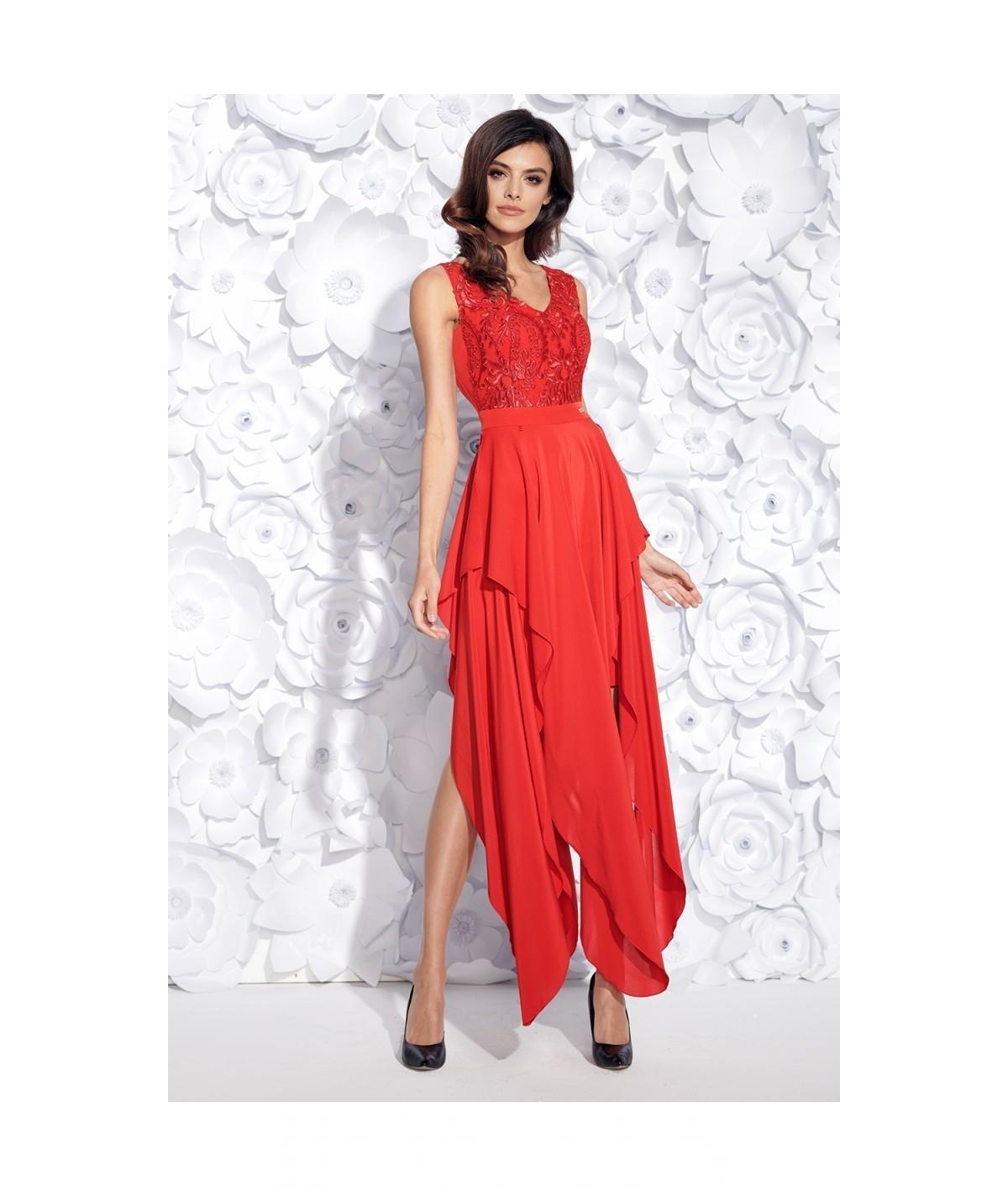 f8c2f841aa Polecasz  Sukienka MIDI z ogonkami JULIA - czerwona