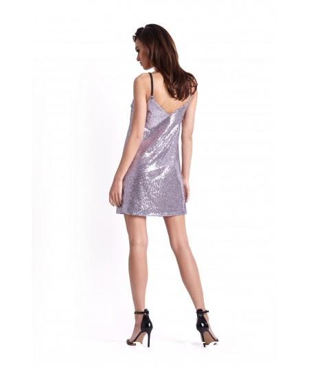 Prosta sukienka karnawałowa - ISMENA -liliowa
