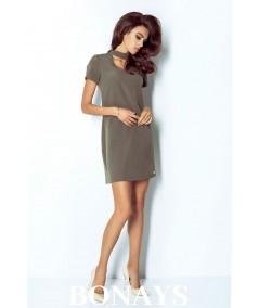 Luźna sukienka z dekoltem i krótkim rękawem - ELENA - khaki