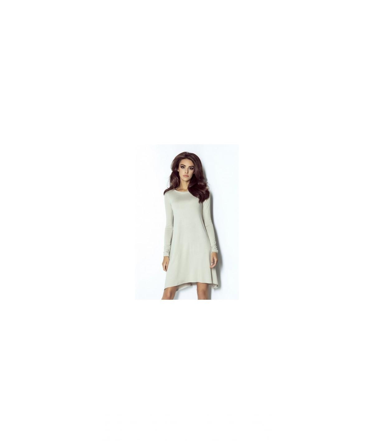 Trapezowa sukienka Amelya - beżowa