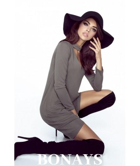 trapezowa sukienka khaki ivon