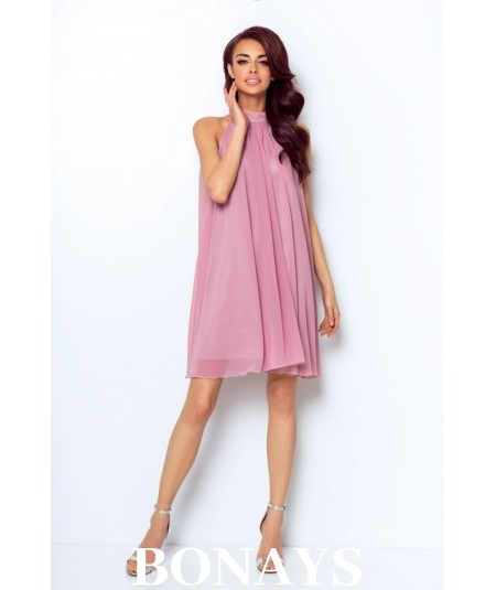 Lekka zwiewna sukienka z dekoltem typu halter - LIVIA różowa