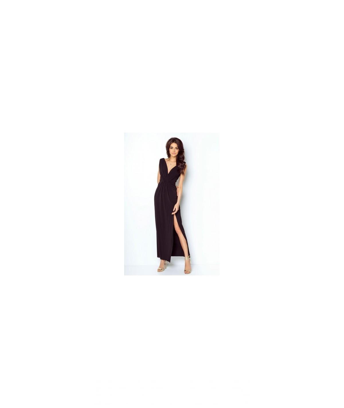 Długa suknia z dekoltem - Dalia - czarna