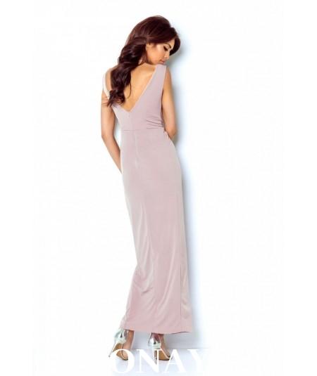 Długa, dopasowana sukienka z kopertowym dekoltem