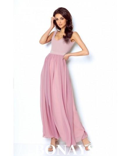 Sukienka Maxi na ramiączkach - Andrea różowa