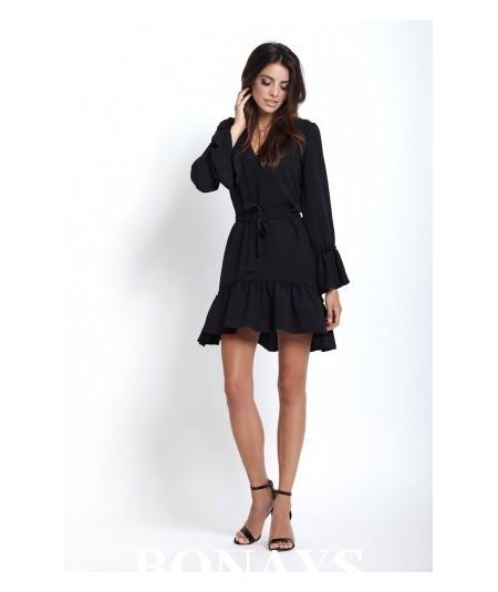 Prosta klasyczna sukienka czarna - Aurelia