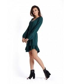 Sukienka Masha -zielona w stylu boho gładka