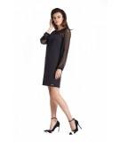 Prosta sukienka mała czarna z tiulowym, gładkim rękawem - Daniela