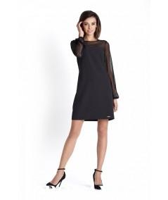 Prosta sukienka z długim rekawem, mała czarna IVON