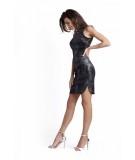 Dopasowana sukienka z półgolfem KASANDRA - czarna