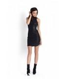 Dopasowana sukienka z półgolfem KASANDRA - czarna - ekoskóra
