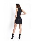 Czarna dopasowana sukienka z ekoskóry - ivon