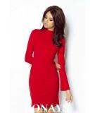 Trapezowa sukienka z dekoltem na plecach - Giselle - czerwona