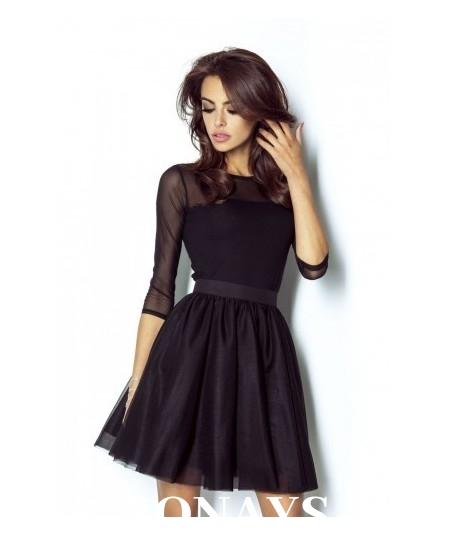 rozkloszowana tiulowa spódnica czarna