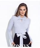Bluzka z długim rekawem i ozdobnym dekoltem - Dominika - szara