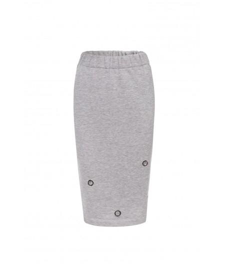 Szara spódnica tuba do kolan na gumce - Kasandra