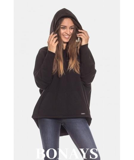 Czarna bluza damska kangurka z kapturem