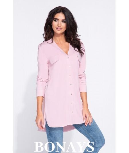 Różowa luźna koszula damska do bioder - Gail