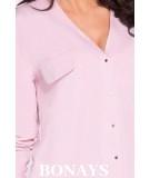 Różowa luźna koszula damska do bioder