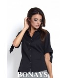 elegancka koszula damska z luźnym stylem czarna