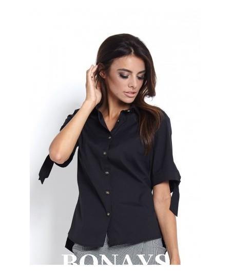 Elegancka koszula damska o luźnym fasonie - czarna Elza